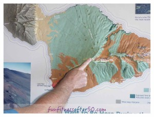 A 3-D map shows us we are at the top of Haleakala, Maui's southern volcano.