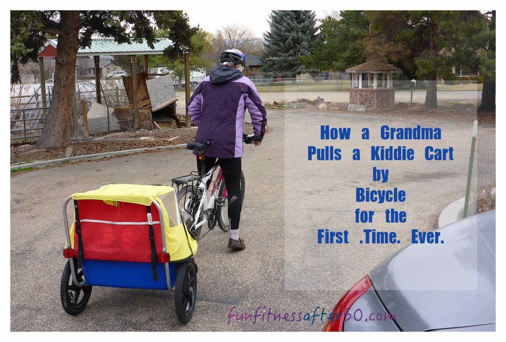 How a Grandma Pulls a Kiddie Cart by Bicycle for the First Time